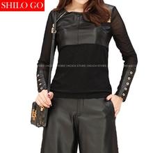 SHILO GO Fashion Street Women Sexy Neck Zipper Metal Rivet Long Sleeve Slim Sheepskin Genuine Leather Short Blouse Ladies Blouse