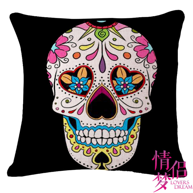 halloween mexican sugar skull cushionno innerdecorative throw pillow sofa home decor almofada - Mexican Halloween Skulls