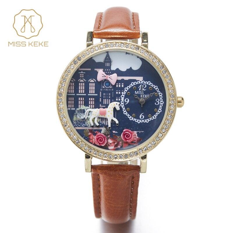 Horse Night Miss Keke Unicorn Cute 3d Mini World Rhinestone Women's Watch Romance Ladies Leather Wristwatches 1815 часы mini world mn1012a