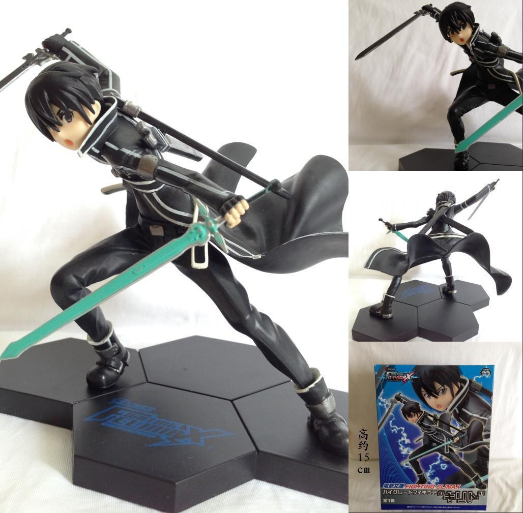 Fighting Climax Sword Art Online Kazuto Kirito PVC Painted PVC Action Figure Collectible Model Toy 15cm KT3897 new hot christmas gift 21inch 52cm bearbrick be rbrick fashion toy pvc action figure collectible model toy decoration