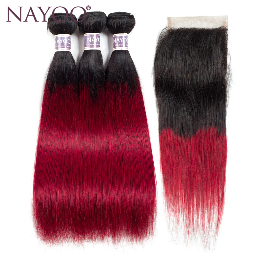 NAYOO Ombre Bundles With Closure T1B/Red Two Tone Human Hair Brazilian Straight Hair 3 Bundles With Lace Closure 10-24