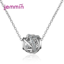 Delicate Excellent Lucky Bead Pendant Necklace Vintage Pure  Silver for women lady girl wholesale Clear Cubic Zircon Necklace