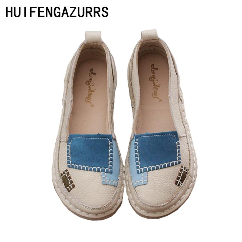 HUIFENGAZURRCS głowy warstwy skóry wołowej czysta ręcznie płaskie buty, retro sztuki mori dziewczyna buty wygodne miękkie podeszwie buty w stylu casual w Damskie buty typu flats od Buty na AliExpress - 11.11_Double 11Singles' Day 1