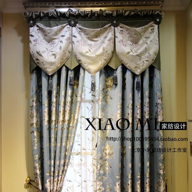 Verarbeitung Maßgeschneiderte High Grade Blau Gold Brokat Gesicht  Amerikanischen Land Villa Wohnzimmer Schlafzimmer Fenster Schatten