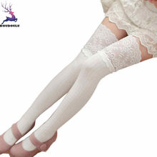 2b3c8817154 DOUDOULU lace Over Knee sexy thigh high stockings woman long Thigh-High  stocking Leggings Elastic