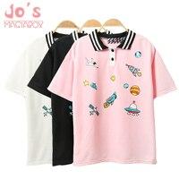 Милый розовый Harajuku футболка с принтом Kawaii мультфильм футболки Топы 2018 Женская мода персонаж Kawaii Милая футболка женская одежда