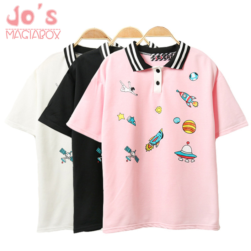 Leuke roze Harajuku afgedrukt T-shirt Kawaii Cartoon Tee Tops 2018 - Dameskleding