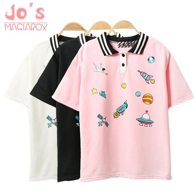 Cute Pink Harajuku Printed T Shirt Kawaii Cartoon Tee Tops 2018 Ladies Fashion Character Kawaii Cute T-shirt Women Clothing