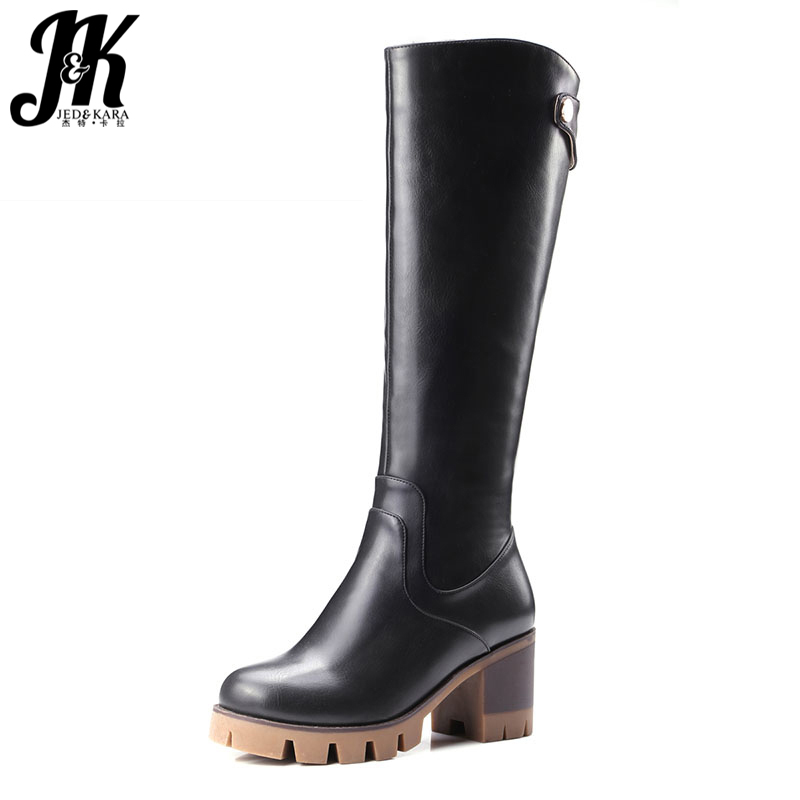 Size 34-42 New High Quality Fall Winter Boots Thick Med Heels Platform Shoes Woman Fashion Add Fur Knee Women Boots 2017 big size 33 43 2016 new style thick heels high quality zip knee boots cozy buckle charm add fur fall winter boots women shoes