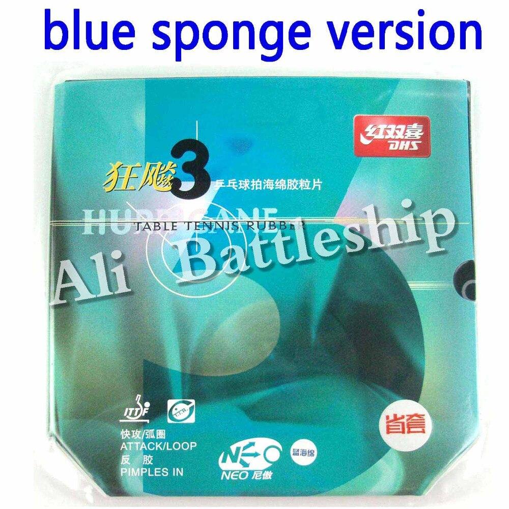Original Blue Sponge Version DHS NEO Provincial Hurricane3 Hurricane 3 Black Pips-In Table Tennis Rubber With Sponge цена