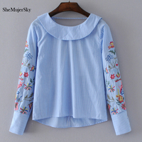 SheMujerSky Women Floral Embroidery Blouse Striped Shirts Long Sleeve Peter Pan Collar Backless Womens Tops