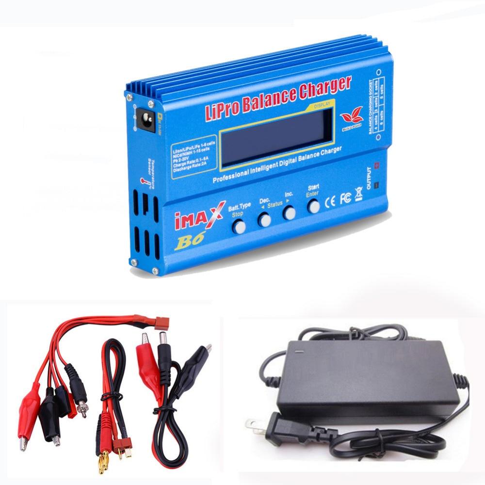 De potencia vendedora caliente iMAX B6 80 W cargador de batería Lipo NiMh Li-ion ni-cd RC Digital equilibrio cargador descargador + 15 V 6A adaptador