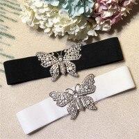 New Arrival 2018 Spring Summer Fashion Women Girls Cute Butterfly Belt Crystal Diamonds Beading White Black