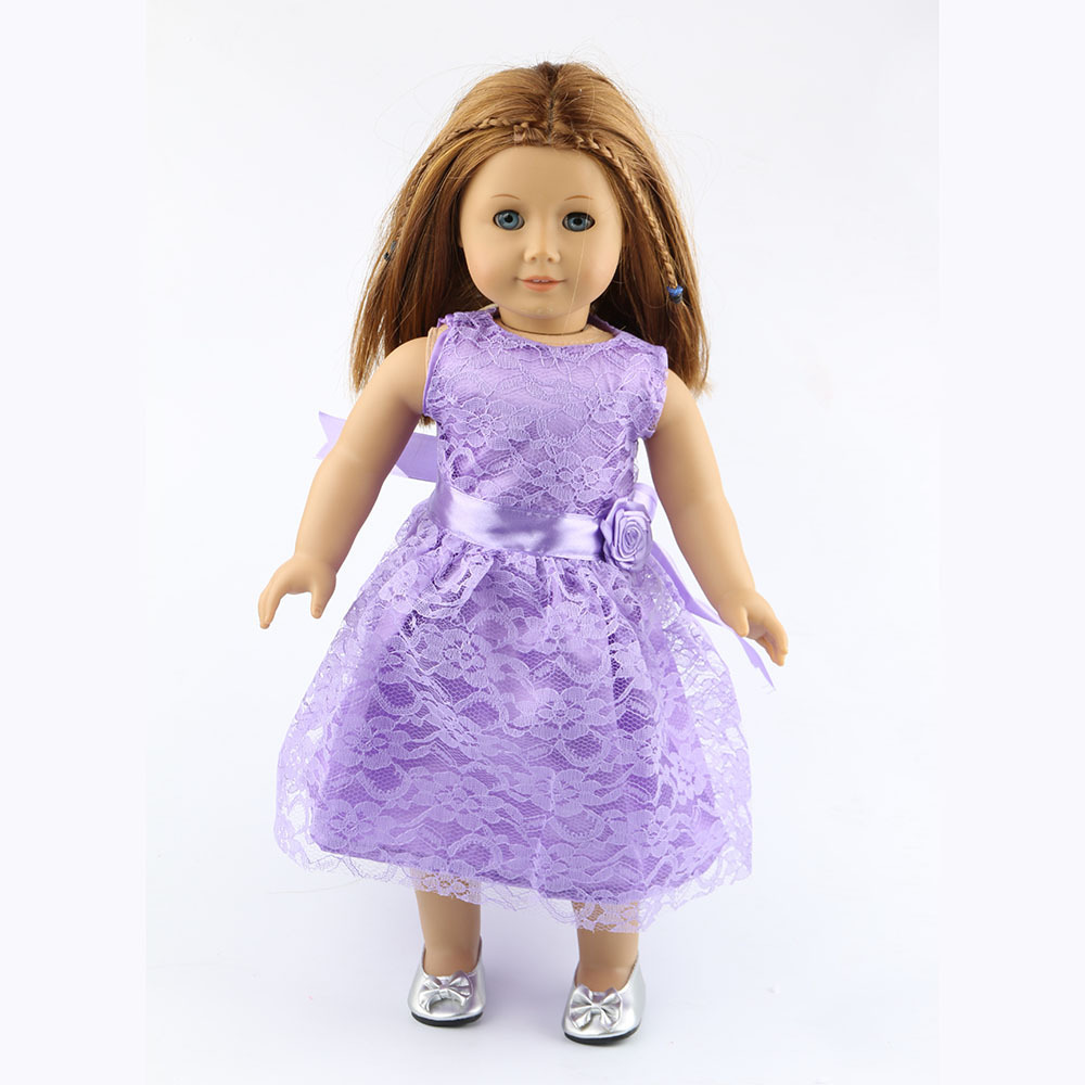 New 4 Colors American Girl Doll Clothes of Princess Party Dress & Doll Shoes for 18 American Girl Doll and Other 18 Girl Dolls