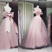 Pearl Pink Big Bow Evening Dresses Off Shoulder Sweetheart Long A Line 2018 Classic Design Pageant Dress Formal Evening Gowns