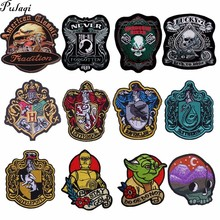 Pulaqi Skeleton Skull Patch Embroidered Iron On Patches For Clothing Letter Punk Applique Badges Magic Academy H