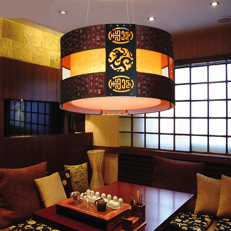Classical Dining Pendant Light Hotel Room Living Room Bedroom Chinese Style  Woodenstudy Hone Lighting Red/black Pendant Lamp ZA In Pendant Lights From  ...