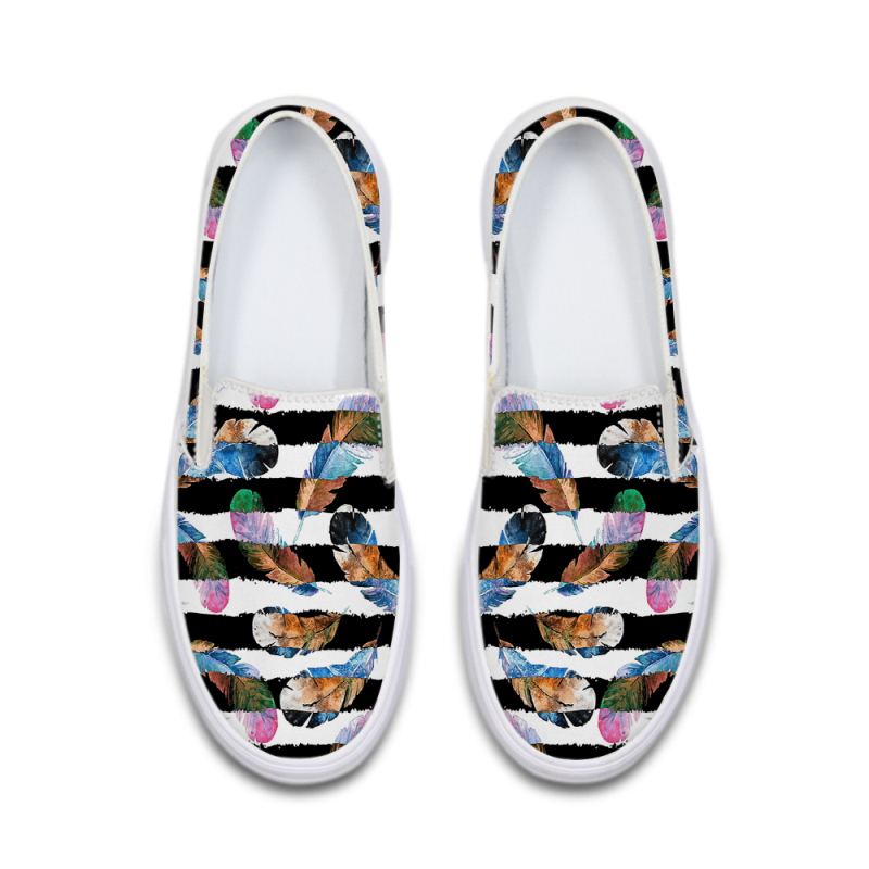2018 Fashion High Top Women Flat Shoes Casual Ladies Printing Canvas Shoes Spring Slip on Gilrs Summer School Shoes Footwear