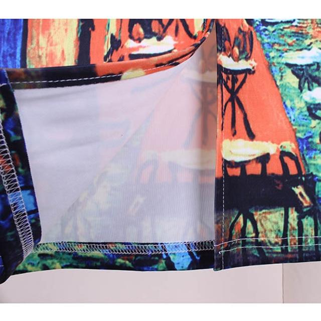 Women Spring Summer Style Pencil Skirt High Waist Skirts Vintage Elegant Bodycon Painting Print Midi Skirt 6