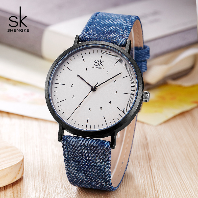 Shengke Casual Watches Women Girls Denim Canvas Belt Women Wrist Watch Reloj Mujer 2019 New Creative Female Quartz Watch Clock