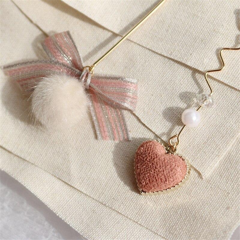 Stud Earrings Hard-Working 8seasons Fashion Women Stud Earrings Strip Pink Knot Bow Beige Pom Pom Ball Heart Pendant Vintage Asymmetric Earrings,1 Pair Earrings