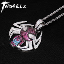 цены TOPGRILLZ Spider-Man Choker Avengers Spiderman Pendant Necklace AAA Bling Cubic Zircon Necklaces For Hip hop Men Women Jewelry