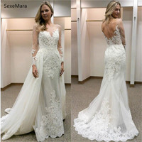 Romantic Mermaid 2019 Wedding Dresses Long Sleeves Scoop Illusion Appliques Backless Garden Bridal Gowns With Detachable Train