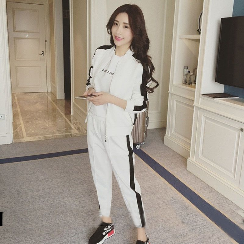 Autumn New Student Fashion Long-sleeved Cardigan Coat Sports Casual Pants Two-piece Loose Thin Women's Suit