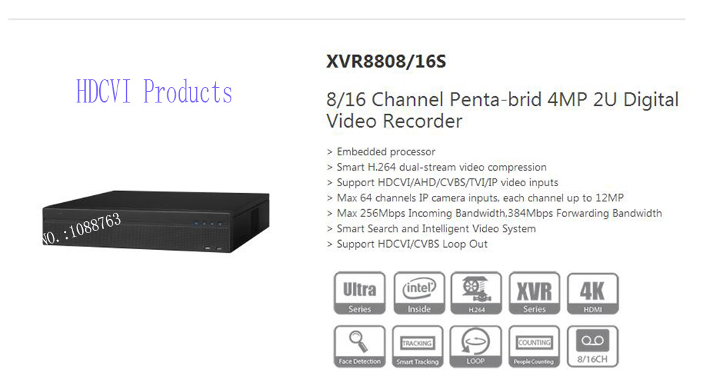 DAHUA 8/16 Channel Penta-brid 4MP 2U Digital Video Recorder Without Logo XVR8808S/XVR8816S 8 channel digital responder parts