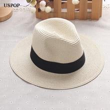 2018 nueva moda mujer Dom paja sombreros jazz femenino sombrero de ala  ancha del cordón hecho a mano sombrero de paja casual muj. 718a772b733e