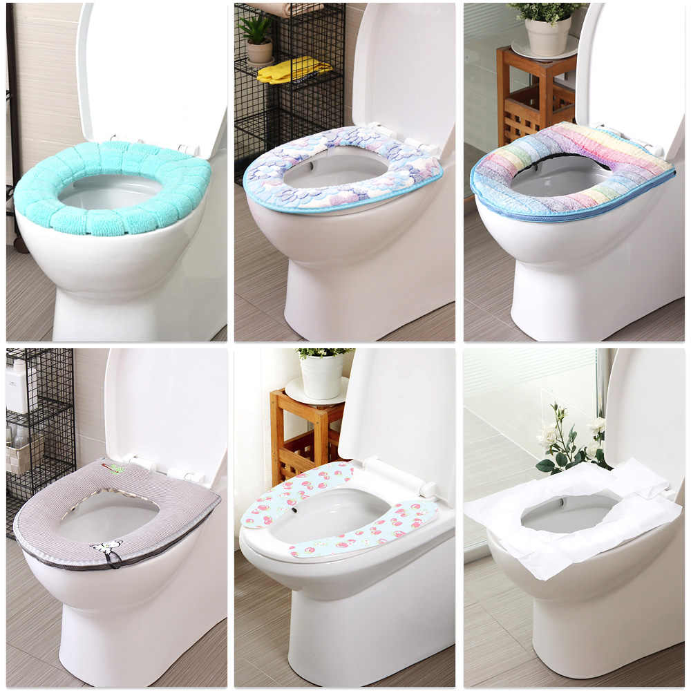 Toilet Seat Cover Mat Soft Warmer Closestool Cushion Washable Multi-style Protector Bathroom Accessories Set Toilet Seat Pad