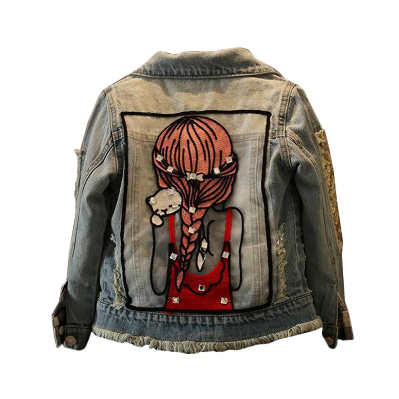 2018 Spring New Girls Denim Jackets Cartoon Pattern Kids Coats for Girls 2 3 4 5 6 7 8 9 10 11 12 Years Children Teens Outerwear цены