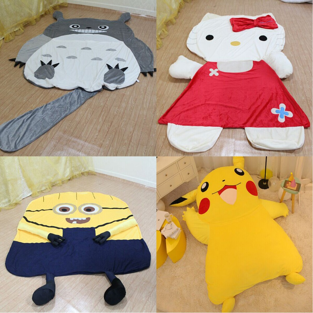 Large Cartoon Totoro Sleeping Bed Bag Holster Pikachu Kitty Cushion Cover Despicable Me 2 Minion Sleeping Bed Mattress Cover