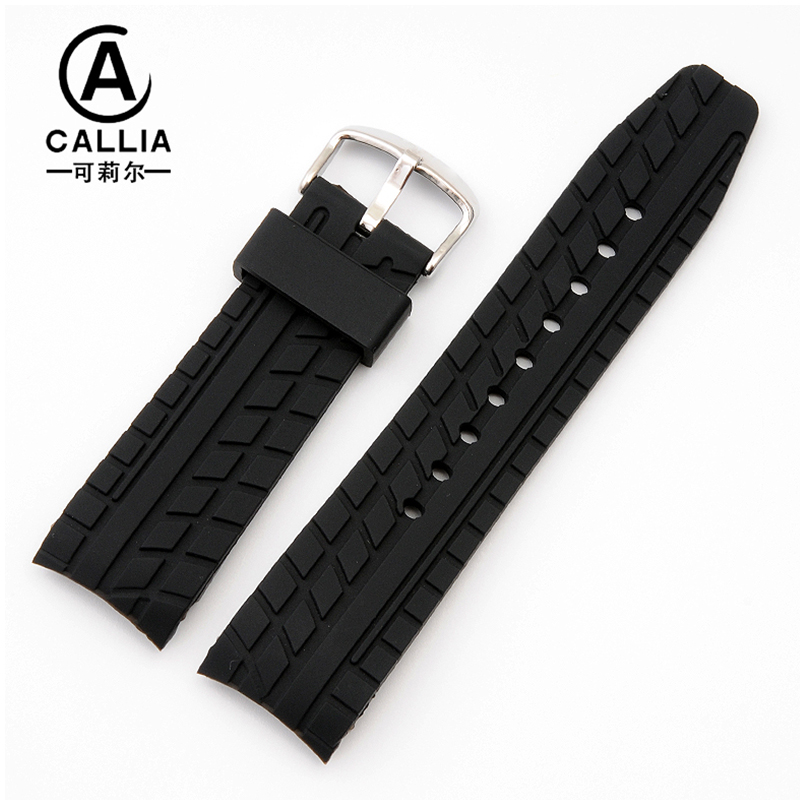 24mm Hot Sale Soft Silicone Rubber Watchband Black Waterproof font b Watch b font accessories For