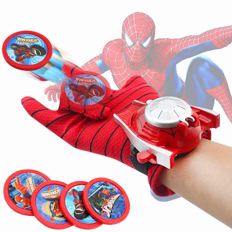 Avengers Gloves Wrist transmitter Flying Saucer Gloves With Launcher Wrist transmitter Spiderman Batman Iron Man Hulk Toys W64