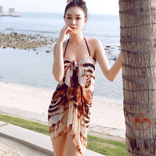 2016 Summer swim Cover Up Bikini BeachWear Animal Print beach tunic for female Swimsuit sport wear