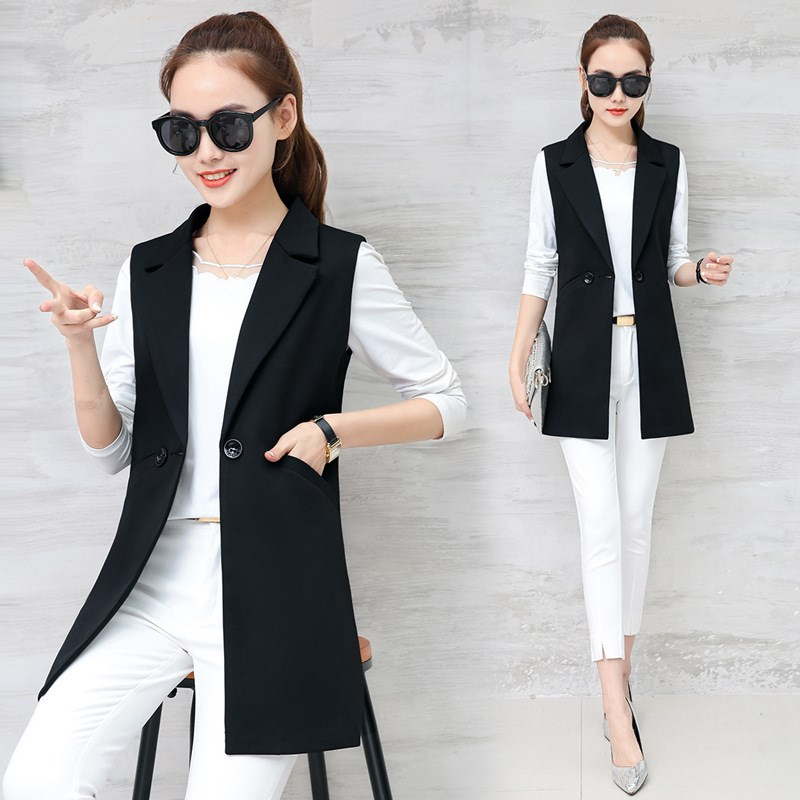 62a31bfc1 Autumn Sleeveless Blazer Vest 2018 Office Lady Long Vest Women Black ...