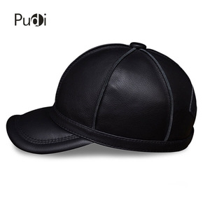 Image 3 - HL028 genuine leather men baseball cap hat new brand mens real leather adult solid adjustable hats/caps