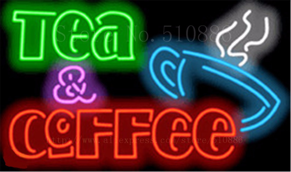 "Tea & Coffee  Cafe Neon sign Glass Tubes Light Bar Beer Club Custom Neon signs Bulb Store Decoration Signboard signage 19""x15"