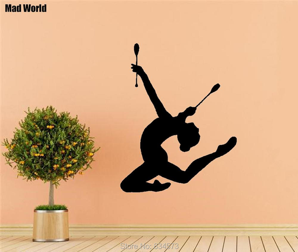 Mad World Sport Girl Gymnast Clubs Fitness Gym Wall Art Stickers ...