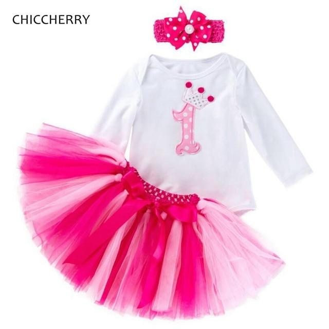 5d6ca4428 Baby Girl 1st Birthday Outfits Bodysuit Headband Lace Tutu Skirts Toddler  Girl Clothes Infant Clothing Bebek Giyim Conjunto Bebe