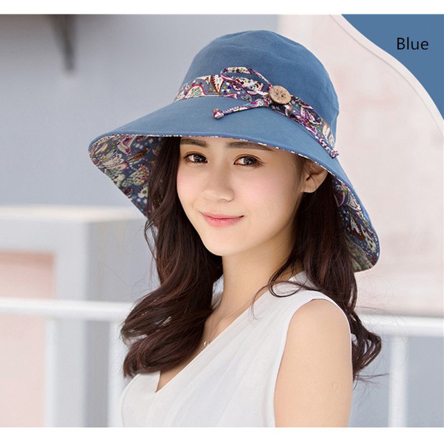 a9b9884eac4 Women Double Side Foldable Sun Hat With Print Bowknot Summer Wide Brim Cap  Beach Floppy Print Hats UV Protection A1