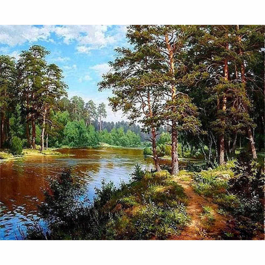DIY Digital Painting By Numbers Package The forest trail oil painting mural Kits Coloring Wall Art Picture Gift frameless