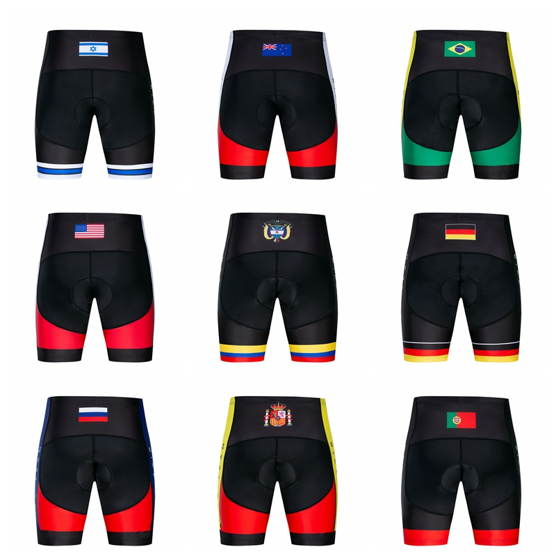 Men's Cycling Shorts Colombia Israel USA Brazil UK Germany Spain Portugal Russia MTB  Bike Bicycle 3D Padded Gel Tights Shorts