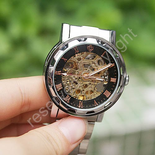 Skeleton Automatic / Wind Up Mechanical Mens Wrist Watch Steel  Xmas Gift New  Wholesale Price A369 original binger mans automatic mechanical wrist watch date display watch self wind steel with gold wheel watches new luxury
