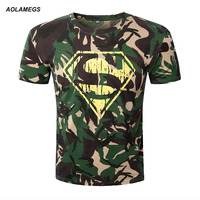 Aolamegs T Shirt Men Superman Camouflage Tee 3D Printed Gymshark Muscle Mens Fitness T Shirts 2017
