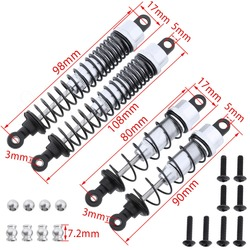 1 set Rear 2p*108mm & 2p*90mm Shock Absorber with Screws  For RC Car FS Racing 1/10 Buggy 53632 Baja  Upgrade Parts