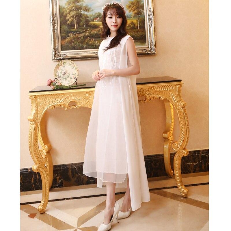 52769593e3a Women Dress Plus Size XL Linen Cotton Chiffon Maxi Dress Solid Color  Embroidery O Neck Long Dress White Sleeveless Summer Dress-in Dresses from  Women s ...