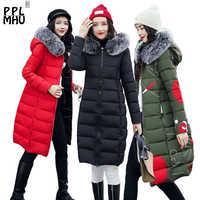NEUE Winter Frauen Mit Kapuze Mantel Pelz Kragen Verdicken Warme Lange Jacke Weibliche Plus Größe 3XL Oberbekleidung Parka Damen Chaqueta feminino