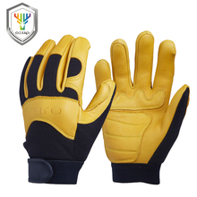 Security Protection - Workplace Safety Supplies - New Deerskin Men's Work Driver Gloves Leather Security Protection Wear Safety Workers Working Racing Moto Gloves For Men 8003